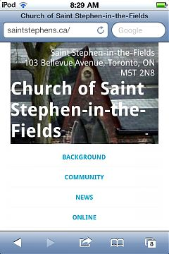 screenshot of iPod Touch running saintstephens.ca