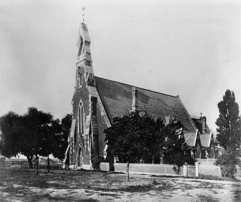 1880 view of St Stephens from Bellevue Ave (Archive, City of Toronto).
