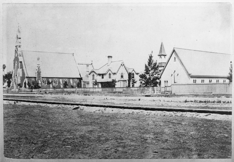 1878 view of St Stephens showing surrounding buildings (Archive, City of Toronto).